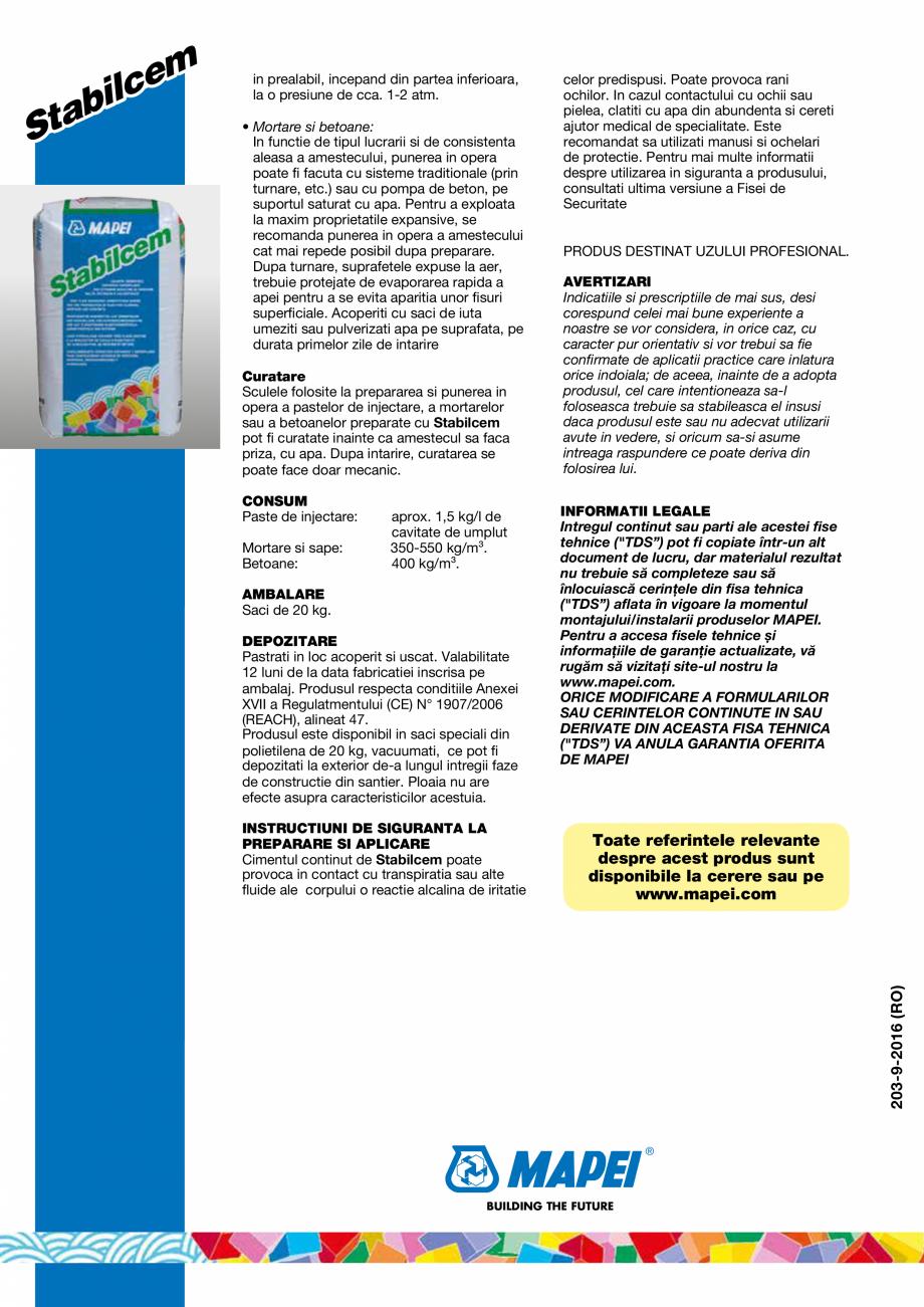 Pagina 4 - Liant pe baza de ciment, expansiv, foarte fluid pentru prepararea pastelor fluide de...