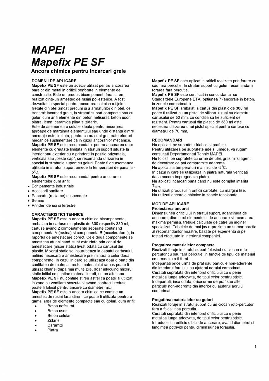 Pagina 1 - Ancora chimica pentru incarcari grele  MAPEI MAPEFIX PE SF Fisa tehnica Romana MAPEI...