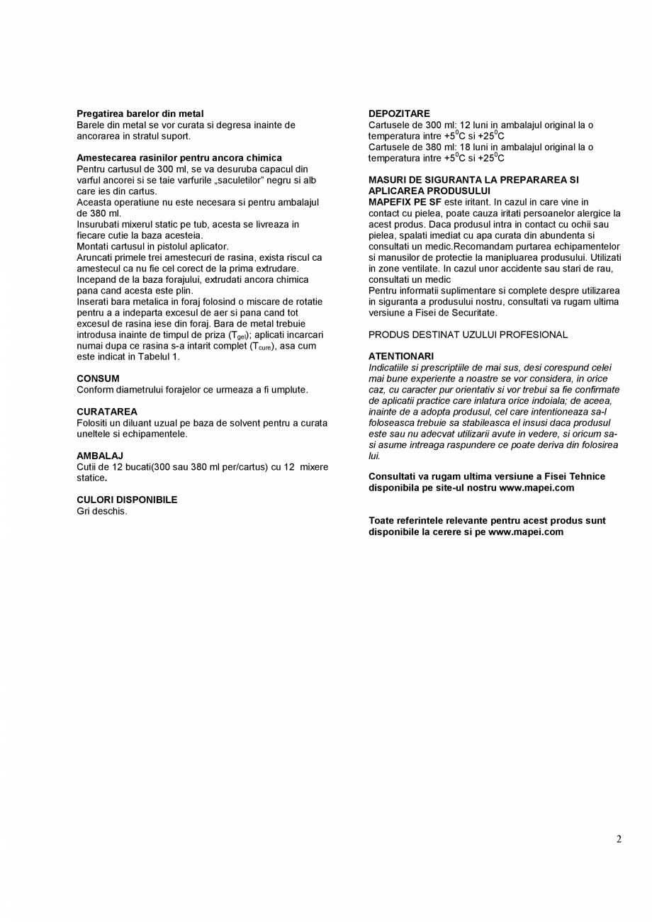 Pagina 2 - Ancora chimica pentru incarcari grele  MAPEI MAPEFIX PE SF Fisa tehnica Romana icala sau ...