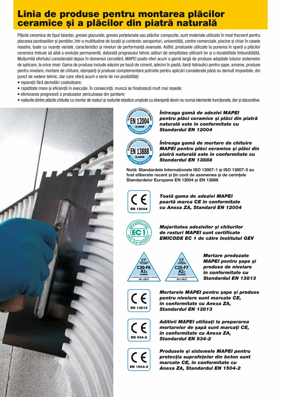 Pagina 2 - Produse pentru montarea placilor ceramice si a placilor din piatra naturala MAPEI Catalog...