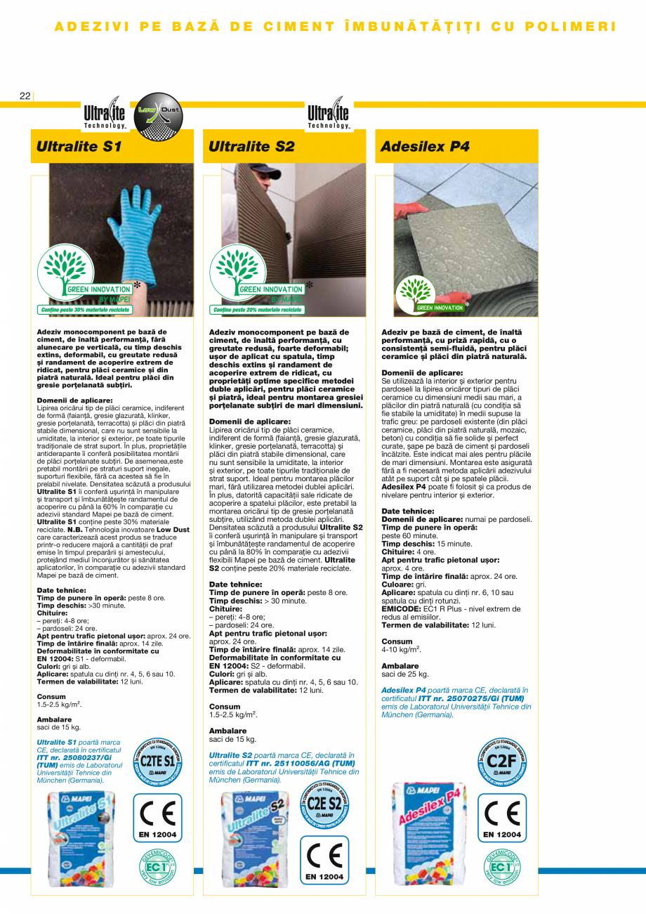 Pagina 24 - Produse pentru montarea placilor ceramice si a placilor din piatra naturala MAPEI...