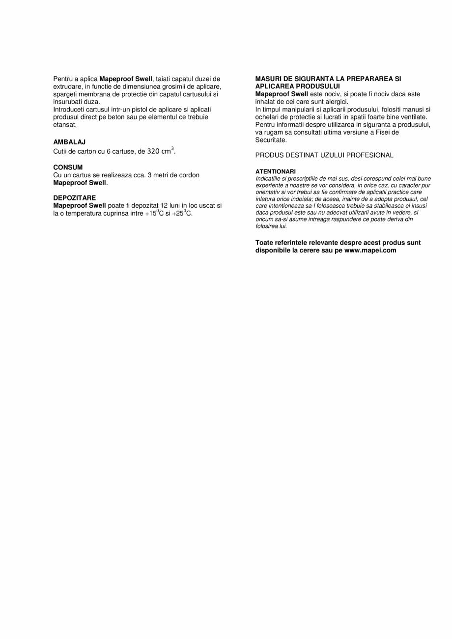 Pagina 2 - Pasta hidro-expansiva monocomponenta pentru impermeabilizarea si etansarea fisurilor si a...