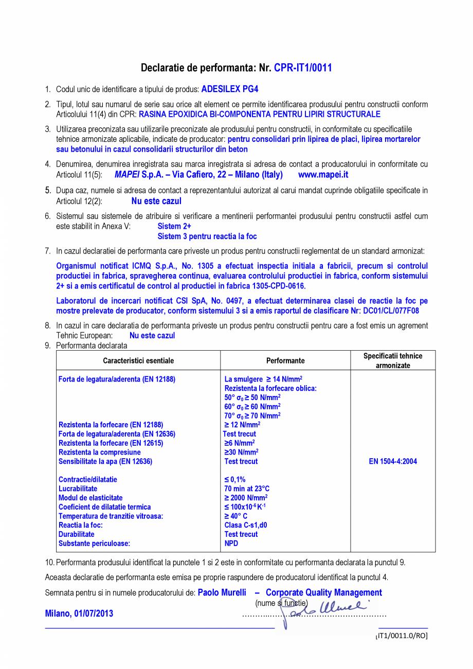 Pagina 1 - Declaratie de performanta - Rasina epoxidica bi-componenta pentru lipiri structurale...