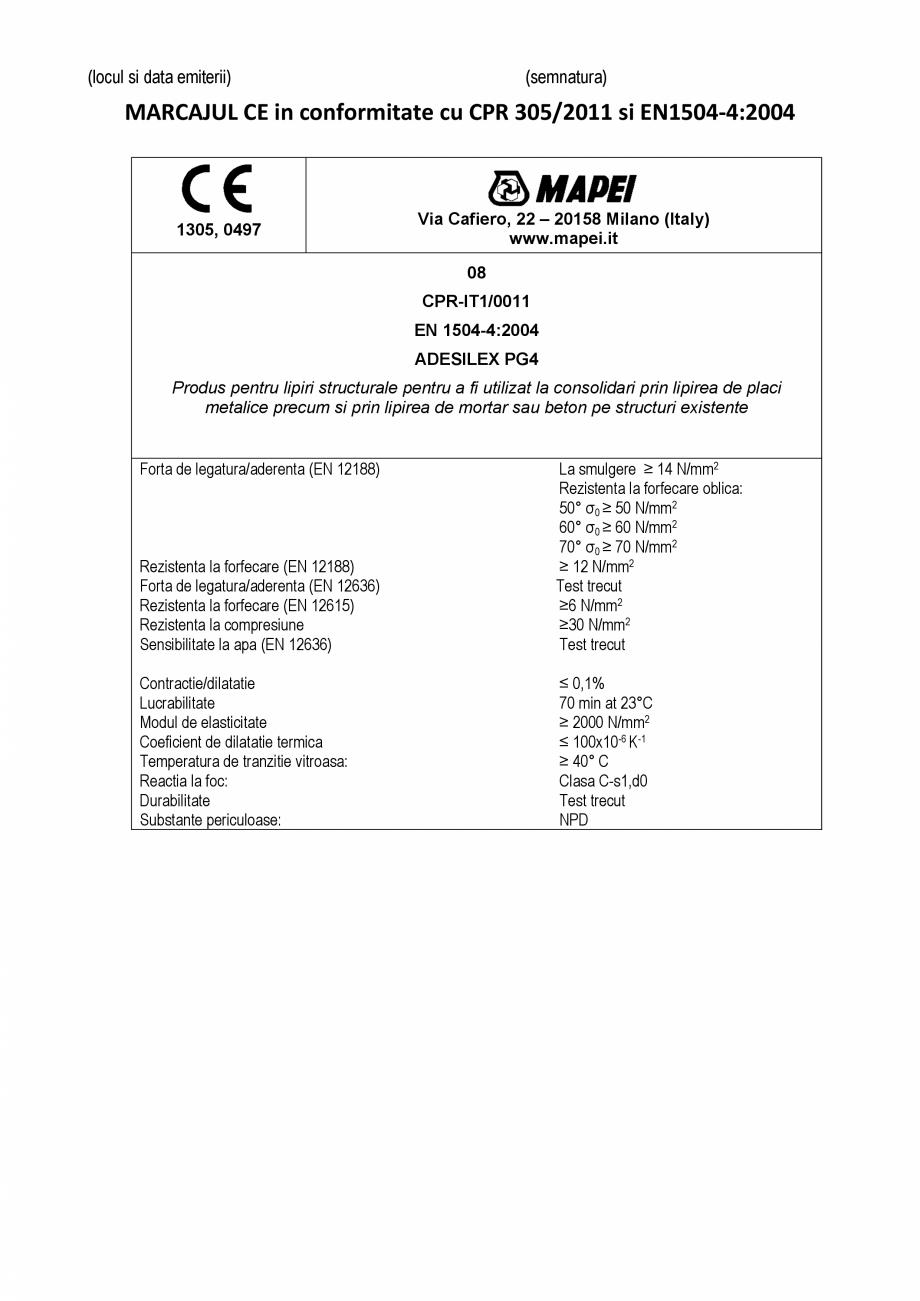 Pagina 2 - Declaratie de performanta - Rasina epoxidica bi-componenta pentru lipiri structurale...