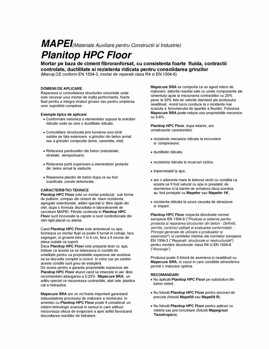 Pagina 1 - Mortar pe baza de ciment fibroranforsat pentru consolidarea grinzilor MAPEI PLANITOP HPC ...