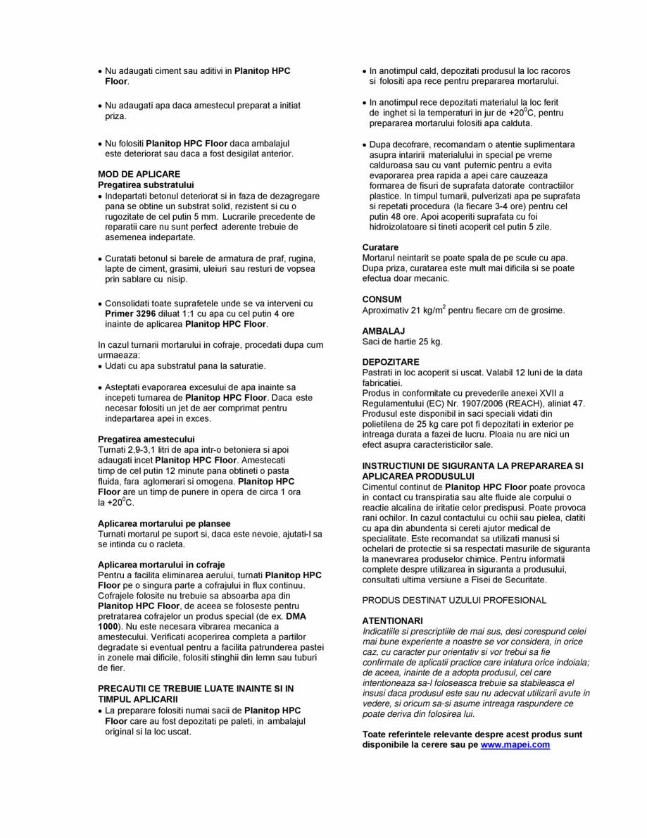 Pagina 2 - Mortar pe baza de ciment fibroranforsat pentru consolidarea grinzilor MAPEI PLANITOP HPC ...