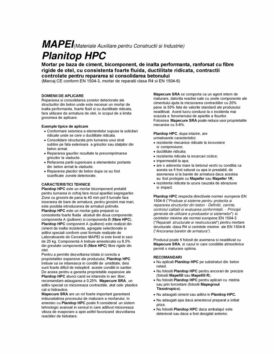 Pagina 1 - Mortar pe baza de ciment pentru repararea si consolidarea betonului MAPEI PLANITOP HPC...