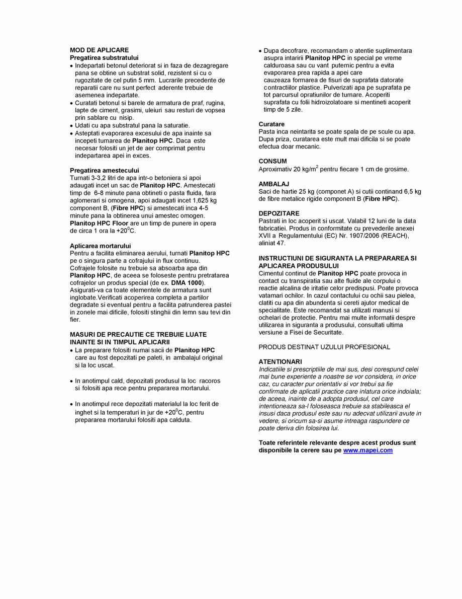 Pagina 2 - Mortar pe baza de ciment pentru repararea si consolidarea betonului MAPEI PLANITOP HPC...