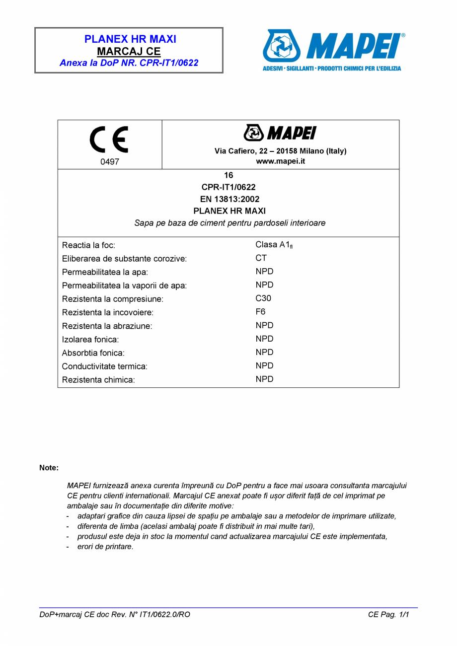 Pagina 2 - Declaratie de performanta - sapa pe baza de ciment pentru pardoseli interioare MAPEI...