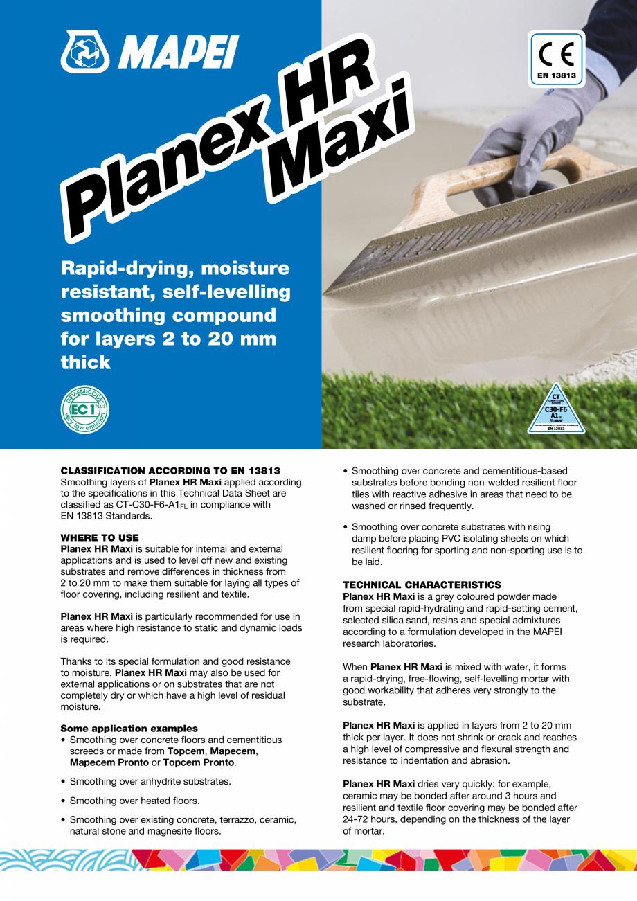 Pagina 1 - Șapă autonivelantă pe bază de ciment pentru exterior MAPEI PLANEX HR MAXI Fisa...