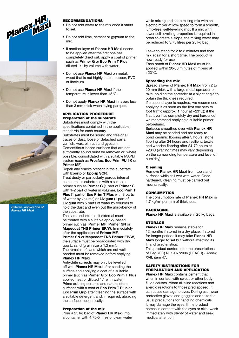 Pagina 2 - Șapă autonivelantă pe bază de ciment pentru exterior MAPEI PLANEX HR MAXI Fisa...