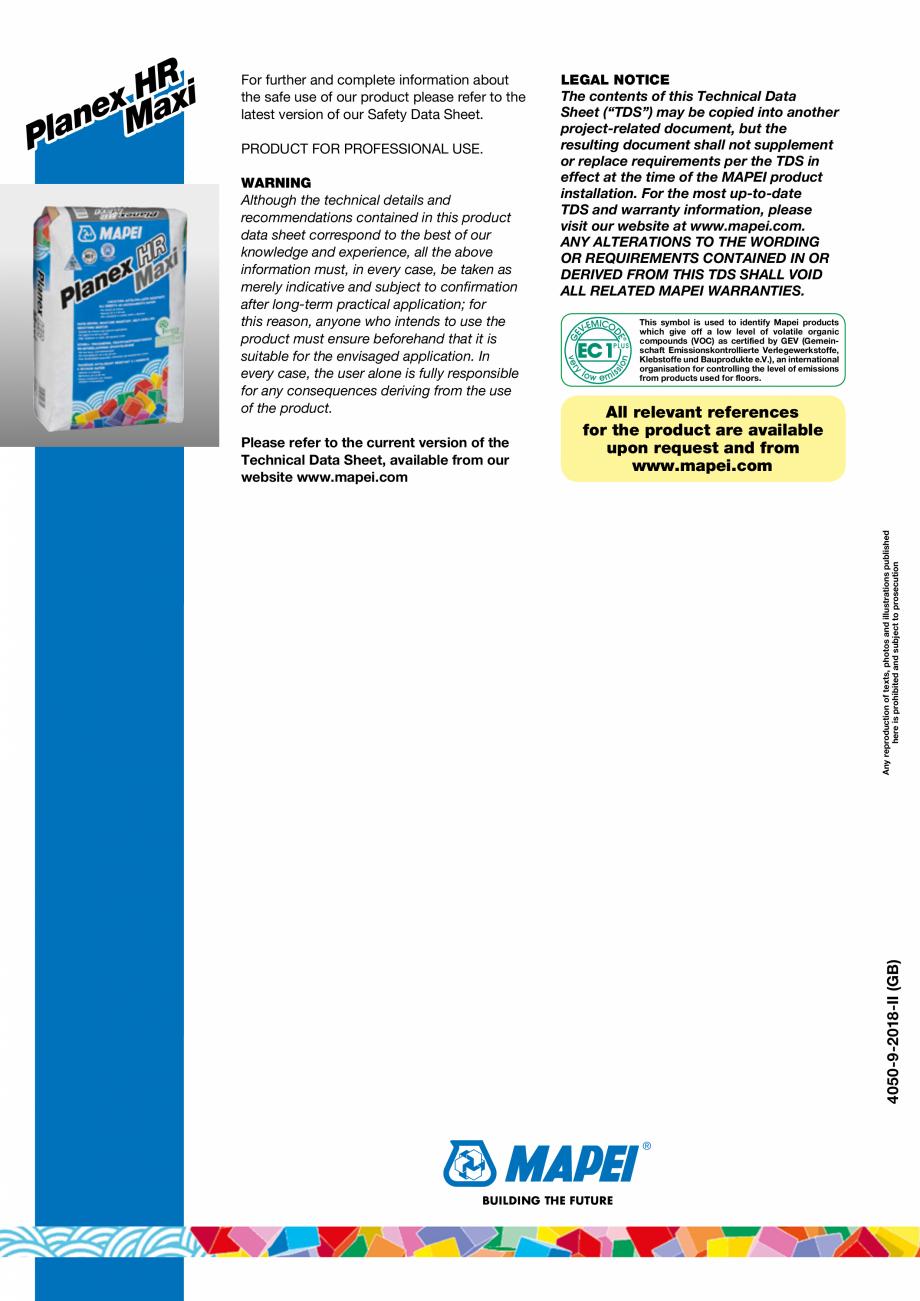 Pagina 4 - Șapă autonivelantă pe bază de ciment pentru exterior MAPEI PLANEX HR MAXI Fisa...