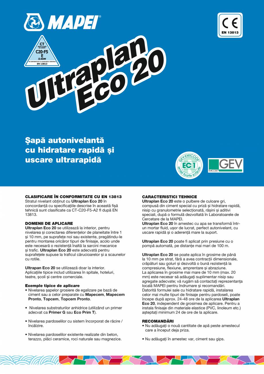 Pagina 1 - Șapă autonivelantă cu hidratare rapidă și uscare ultrarapidă MAPEI ULTRAPLAN ECO 20...
