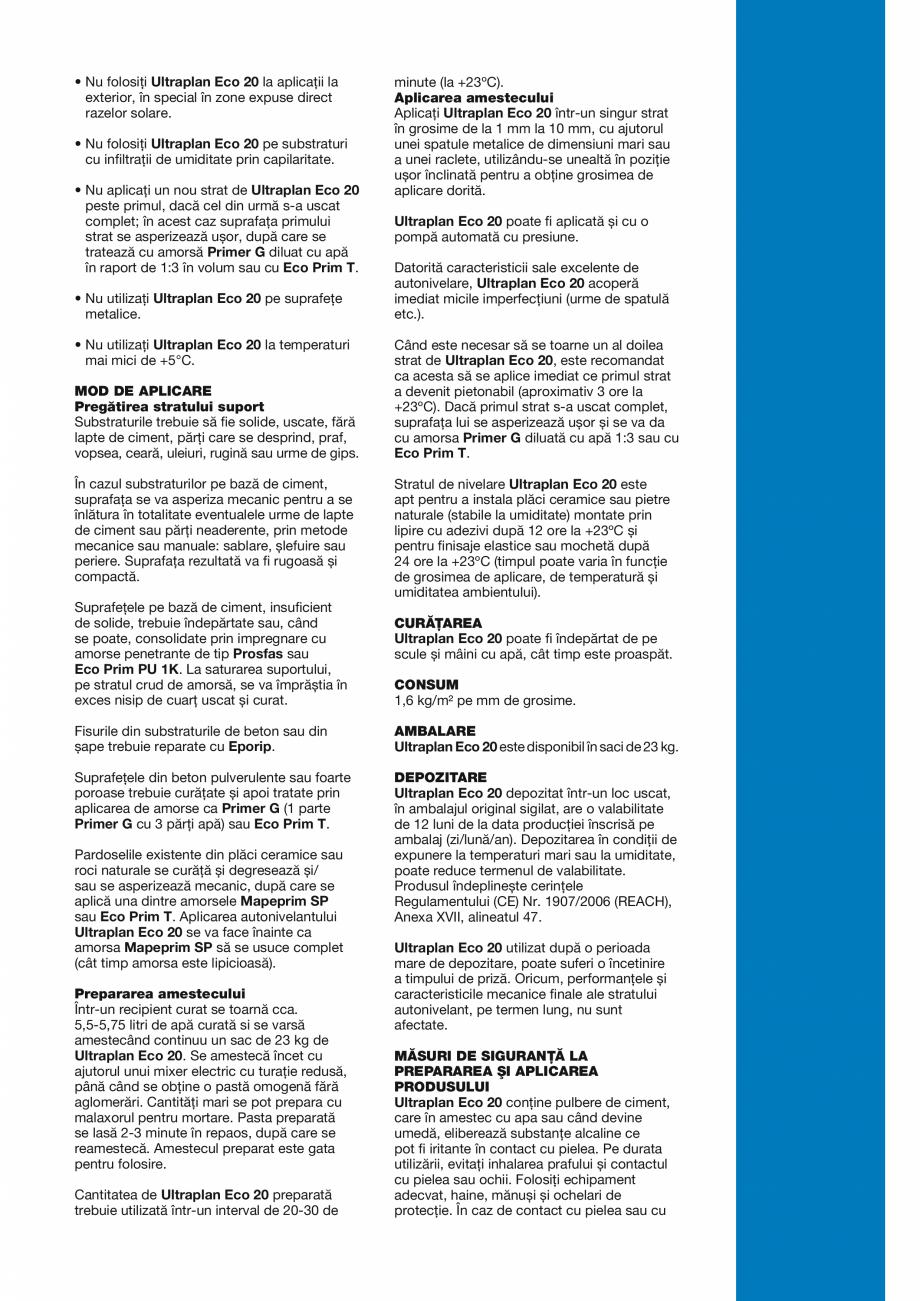 Pagina 3 - Șapă autonivelantă cu hidratare rapidă și uscare ultrarapidă MAPEI ULTRAPLAN ECO 20...