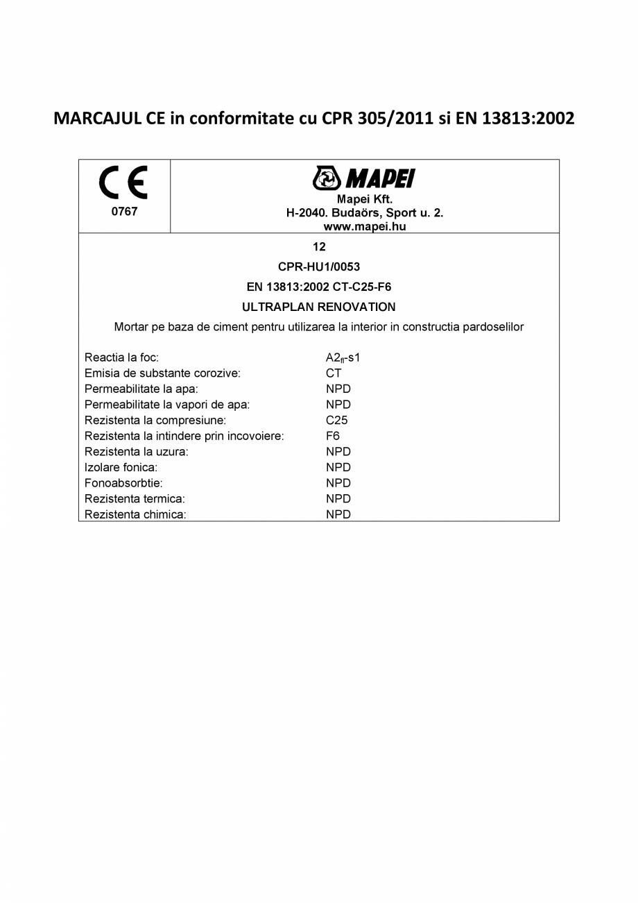 Pagina 2 - ULTRAPLAN RENOVATION 3 MAPEI Certificare produs Romana ui pentru constructii astfel cum...