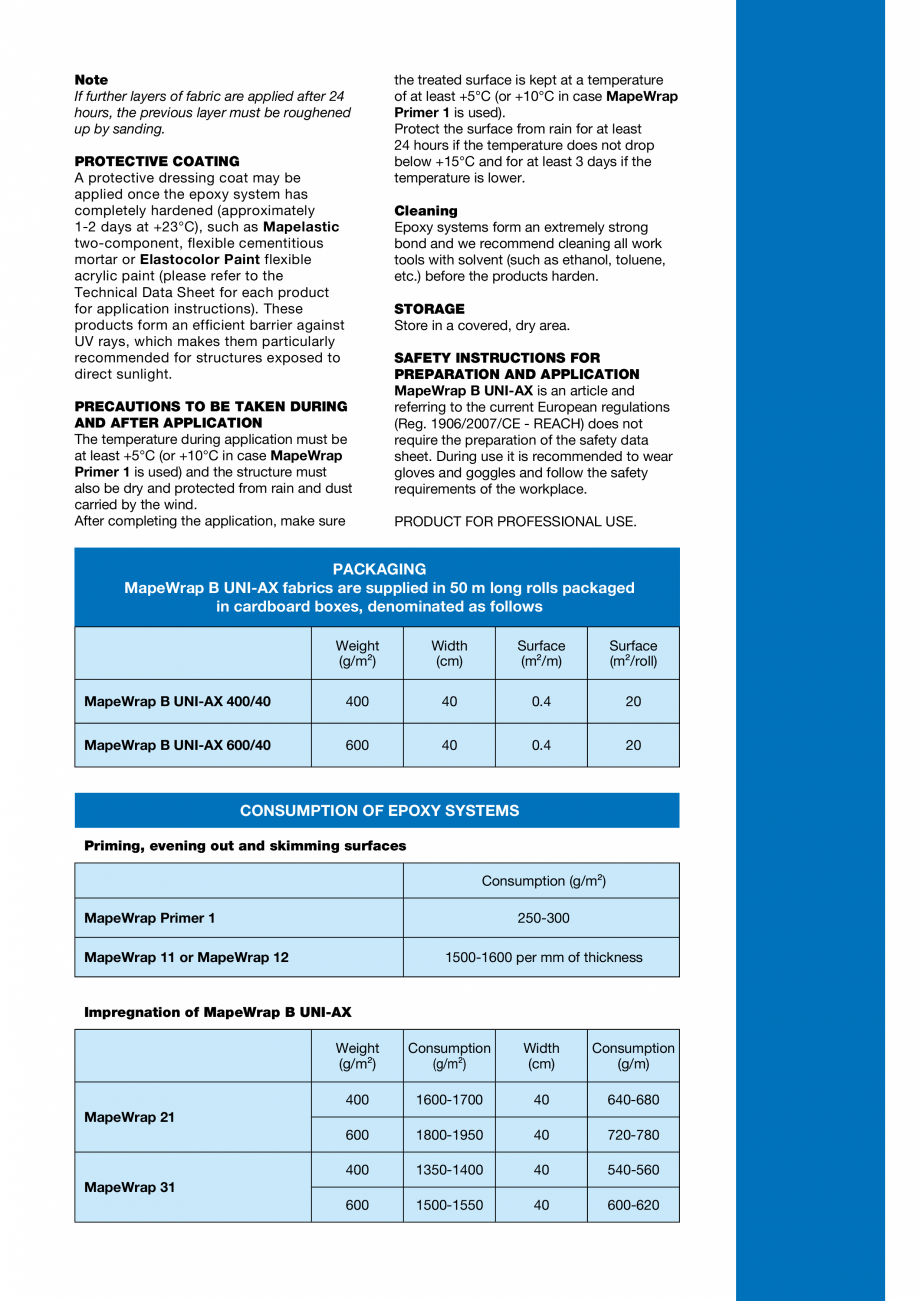 Pagina 5 - Tesatura unidirectionala din fibre de bazal cu rezistenta ridicata MAPEI MAPEWRAP B...