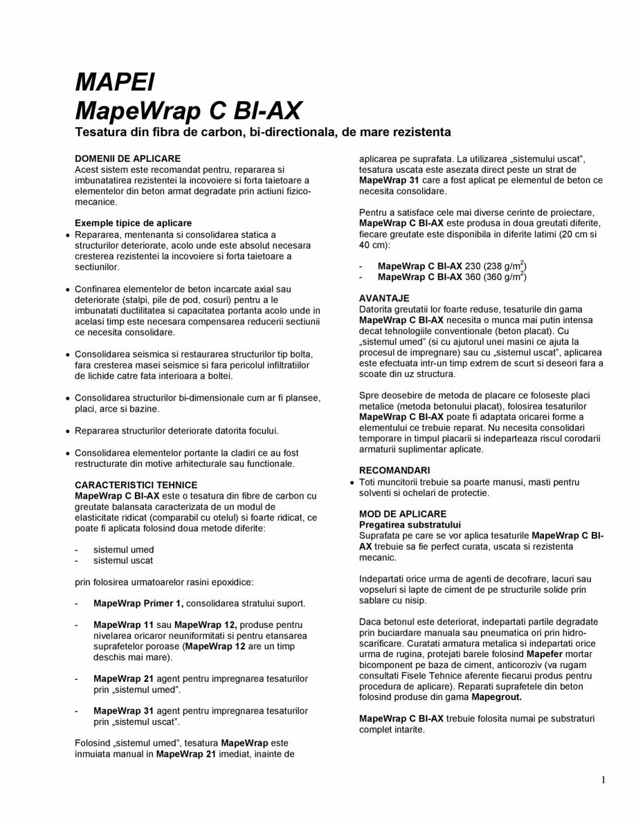 Pagina 1 - Tesatura din fibra de carbon bi-directionala de mare rezistenta MAPEI MAPEWRAP C BI-AX...