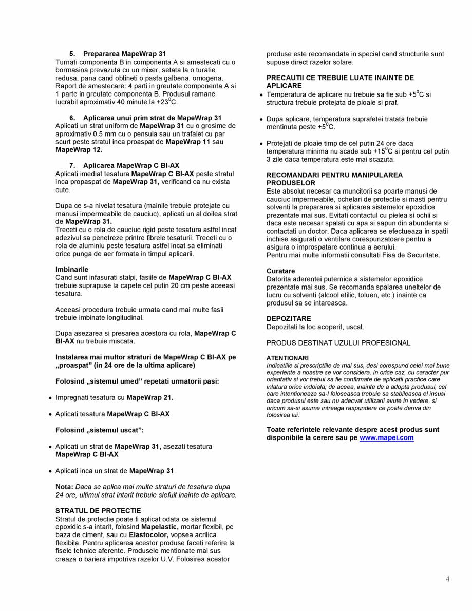 Pagina 4 - Tesatura din fibra de carbon bi-directionala de mare rezistenta MAPEI MAPEWRAP C BI-AX...