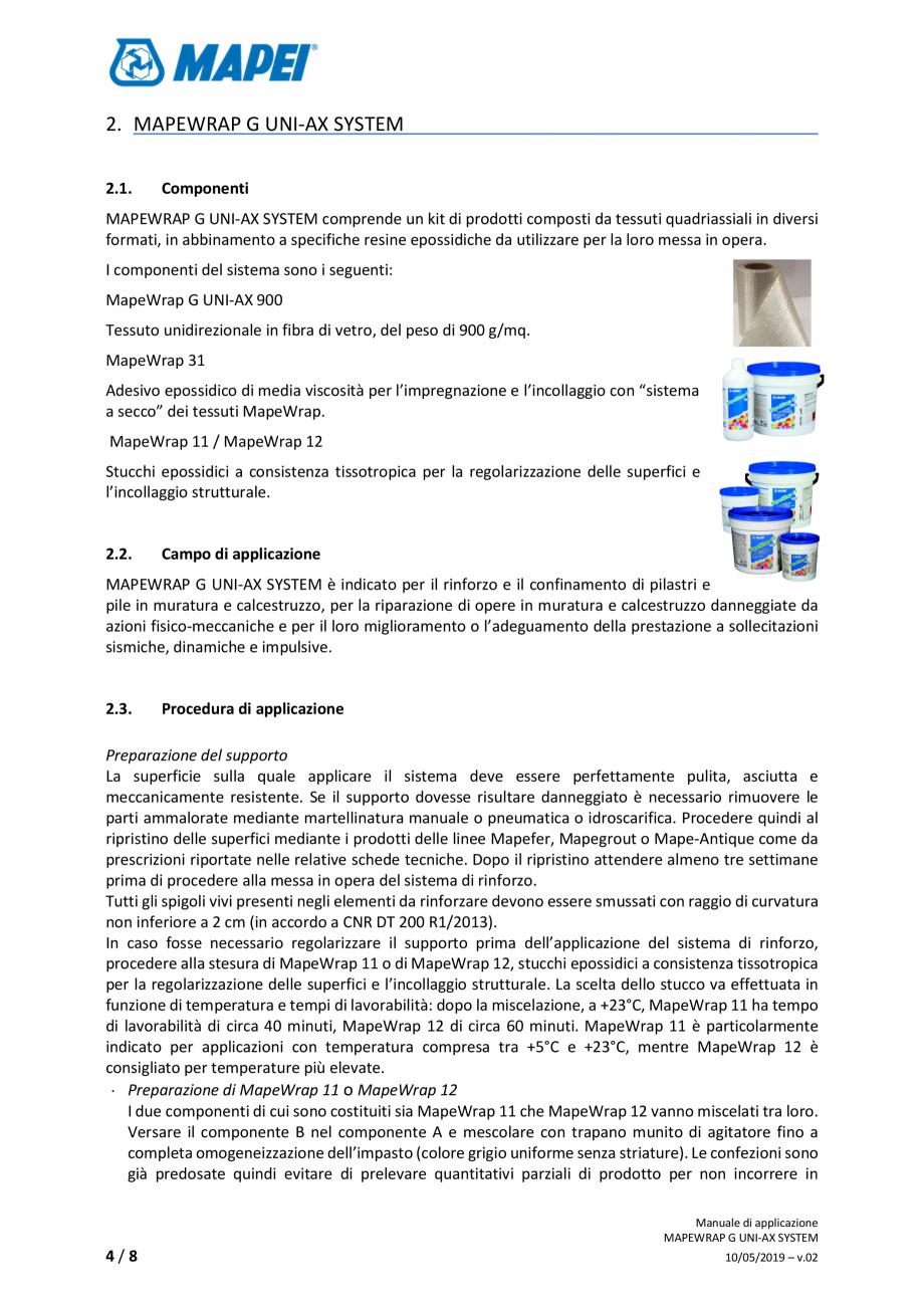 Pagina 4 - Sistem de consolidare structurala - Manual de prepapre si aplicare MAPEI MAPEWRAP G...