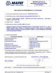Declaratie de performanta - Aditiv reducator de apa/plastifiant EN 934-2, T.2