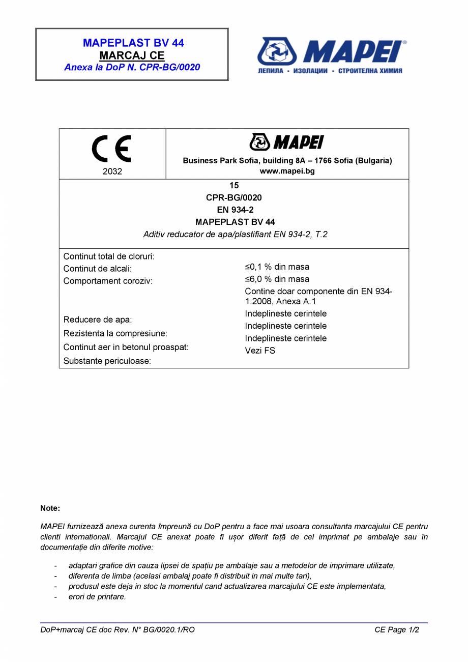 Pagina 2 - Declaratie de performanta - Aditiv reducator de apa/plastifiant EN 934-2, T.2 MAPEI...
