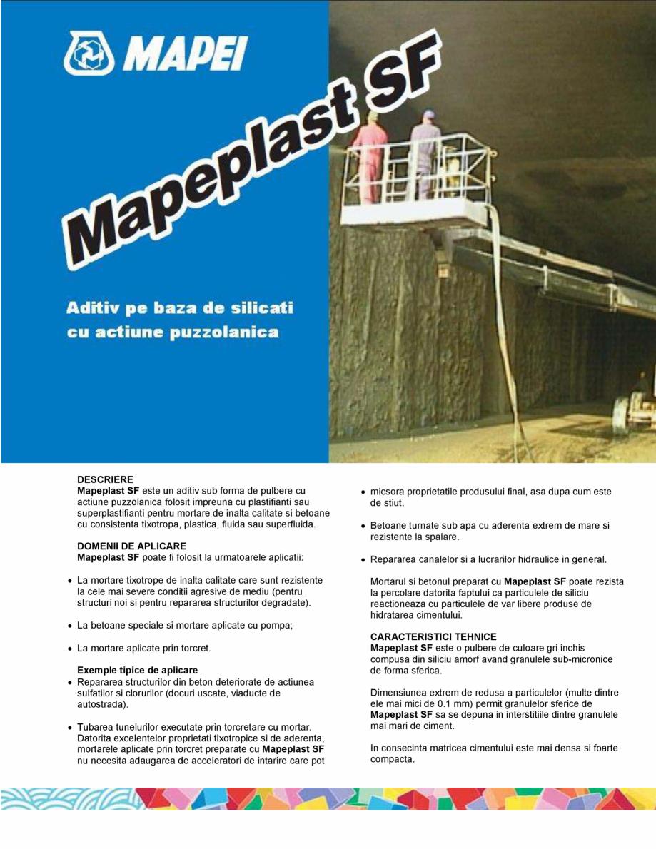Pagina 1 - Aditiv pe baza de silicati cu actiune puzzolanica MAPEI MAPEPLAST SF Fisa tehnica Romana ...