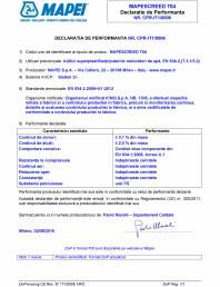 Declaratie de performanta - Aditivi superplastifianți/puternic reducători de apă