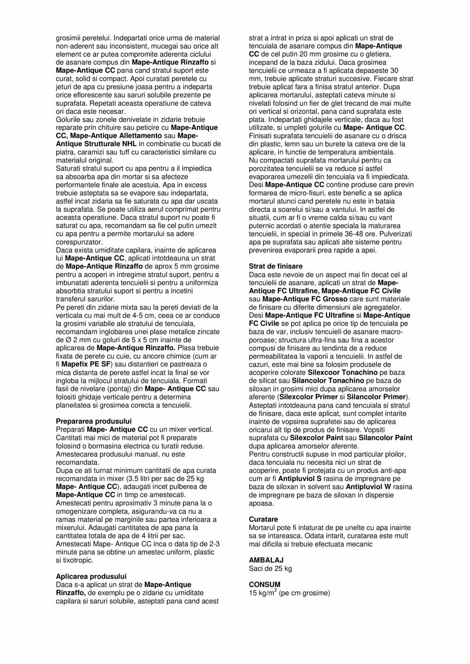 Pagina 2 - Tencuiala de asanare pe baza de var si Eco-Pozzolan pentru restaurarea zidariilor vechi...