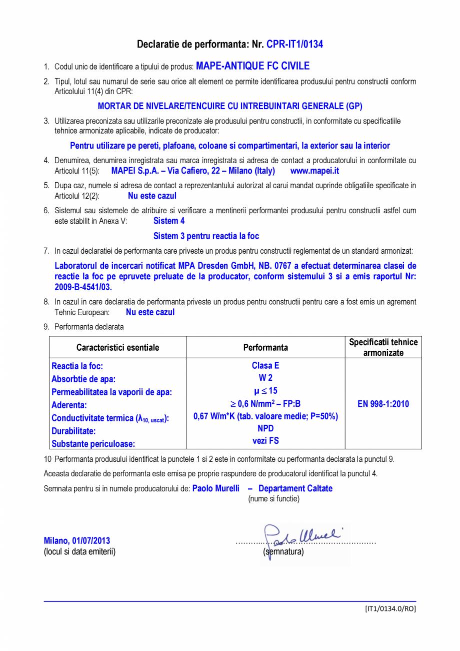 Pagina 1 - Declaratie de performanta - Mortar de nivelare/tencuire cu intrebuintari generale MAPEI...