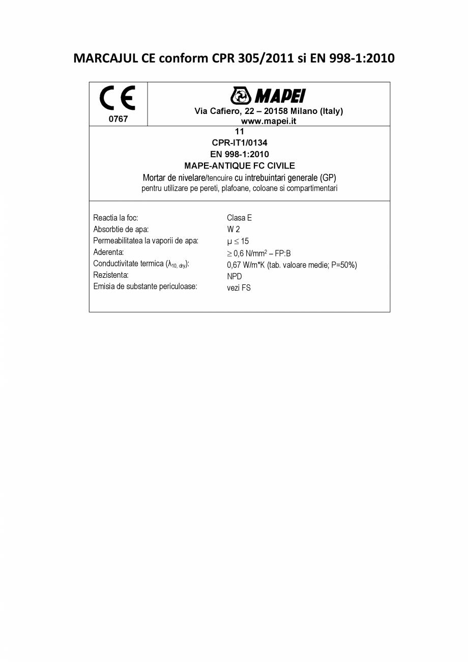 Pagina 2 - Declaratie de performanta - Mortar de nivelare/tencuire cu intrebuintari generale MAPEI...