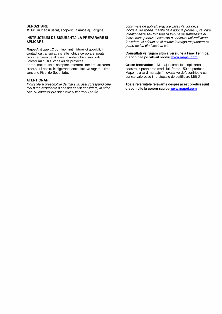 Pagina 3 - Liant pe baza de var si Eco-Pozzolan MAPEI MAPE-ANTIQUE LC Fisa tehnica Romana oltata in ...