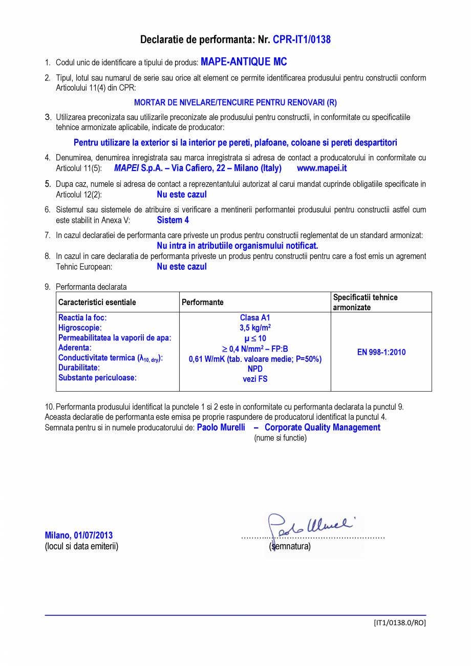 Pagina 1 - Declaratie de performanta - Mortar de nivelare/tencuire pentru renovari  MAPEI...