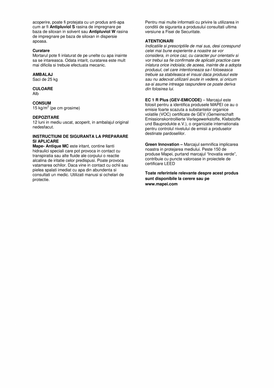 Pagina 3 - Tencuiala de asanare pe baza de var si Eco-Pozzolan MAPEI MAPE-ANTIQUE MC Fisa tehnica...