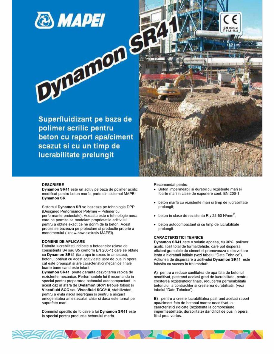 Pagina 1 - Superfluidizant pe baza de polimer acrilic pentru beton cu raport apa/ciment scazut si cu...