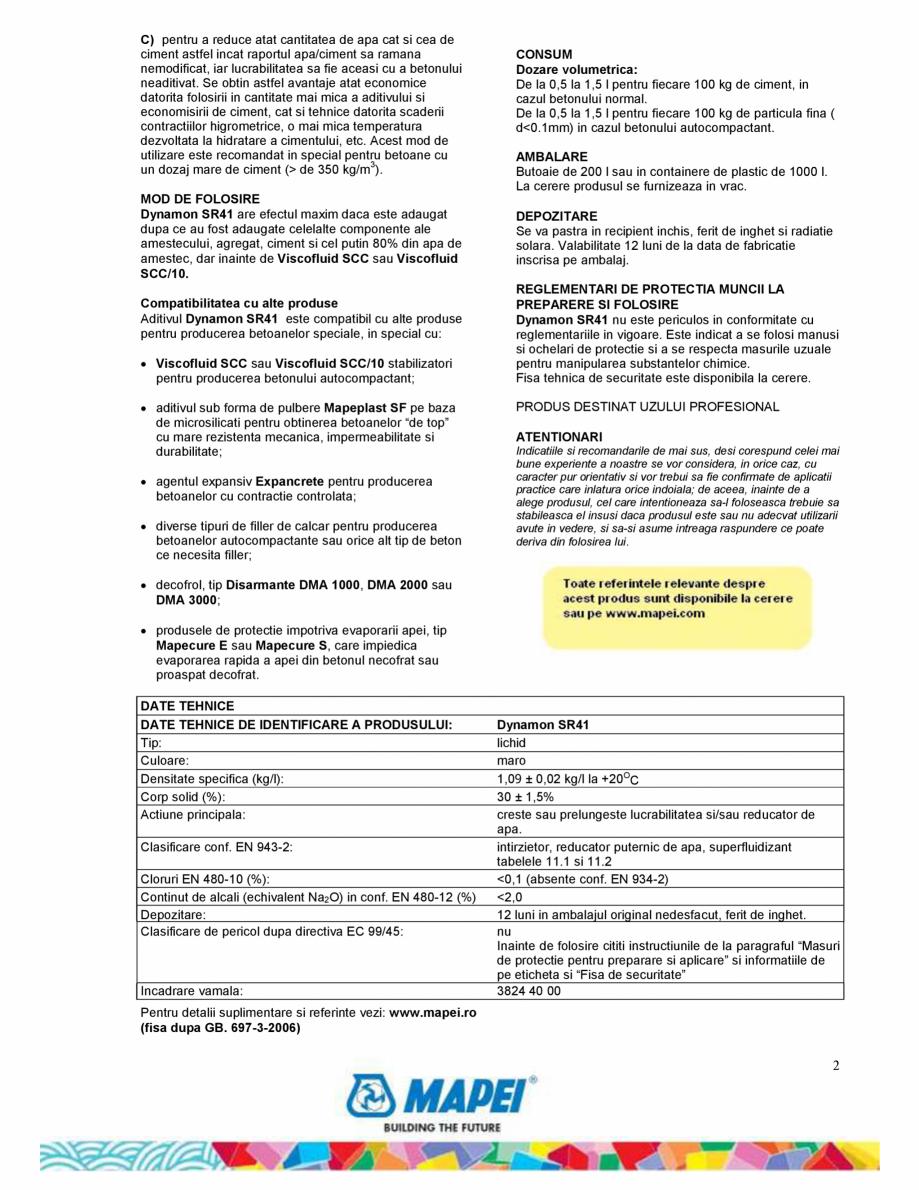 Pagina 2 - Superfluidizant pe baza de polimer acrilic pentru beton cu raport apa/ciment scazut si cu...