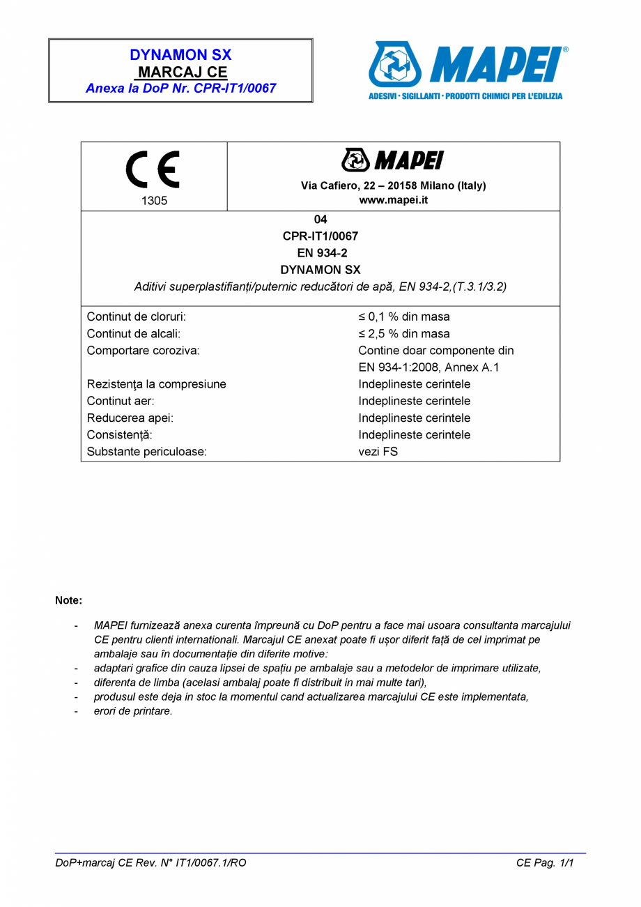 Pagina 2 - Declaratie de performanta pentru aditiv superplastifiant/puternic reducator de apa   ...