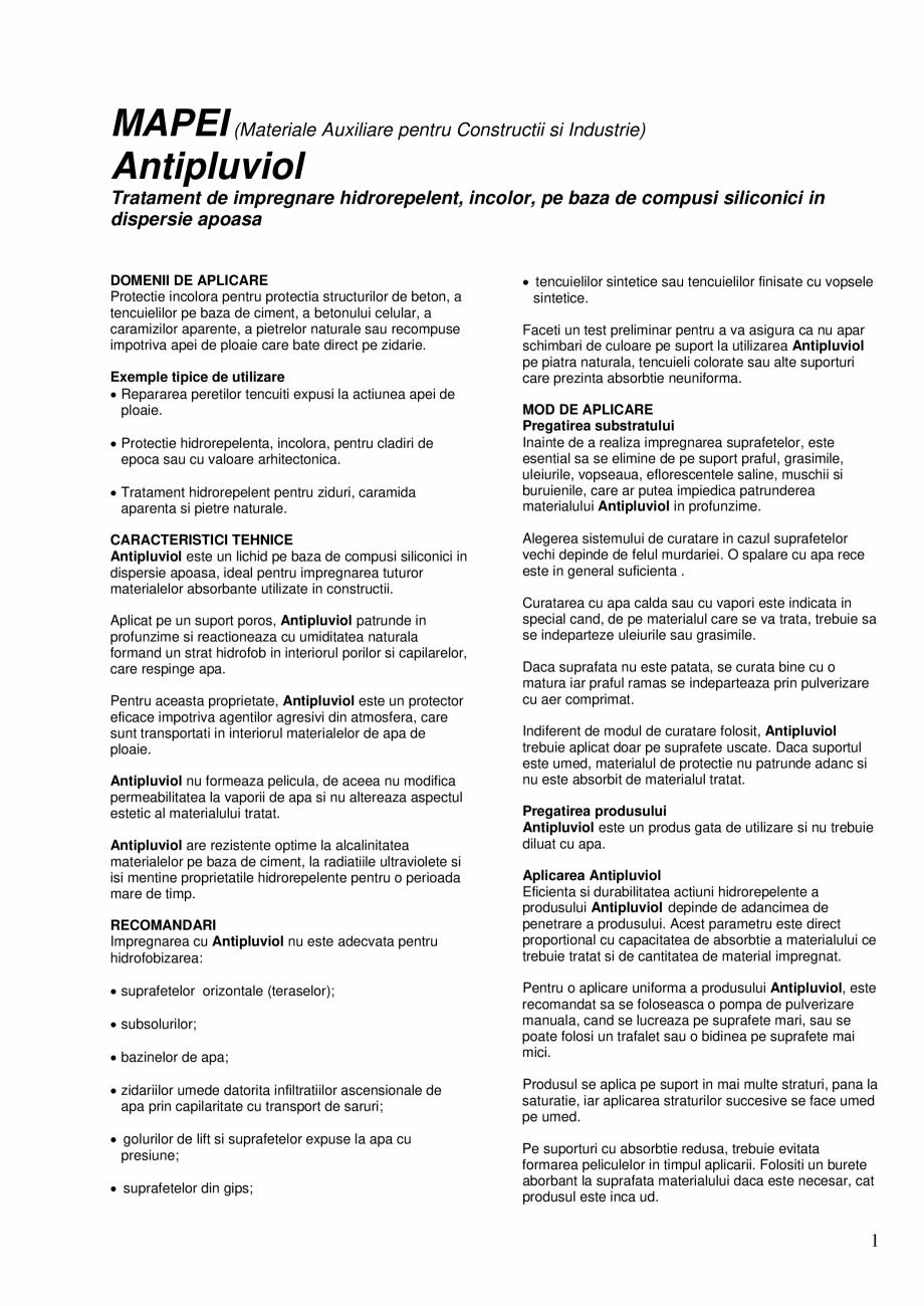 Pagina 1 - Tratament de impregnare hidrorepelent, incolor, pe baza de compusi siliconici in...