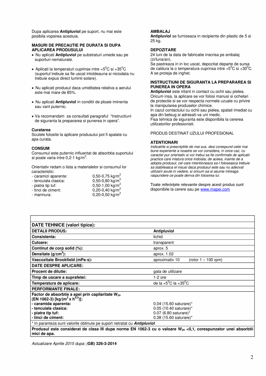 Pagina 2 - Tratament de impregnare hidrorepelent, incolor, pe baza de compusi siliconici in...