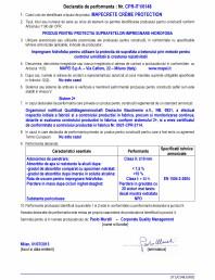 Declaratie de performanta - Produs pentru protectia suprafetelor - impregnare hidrofoba