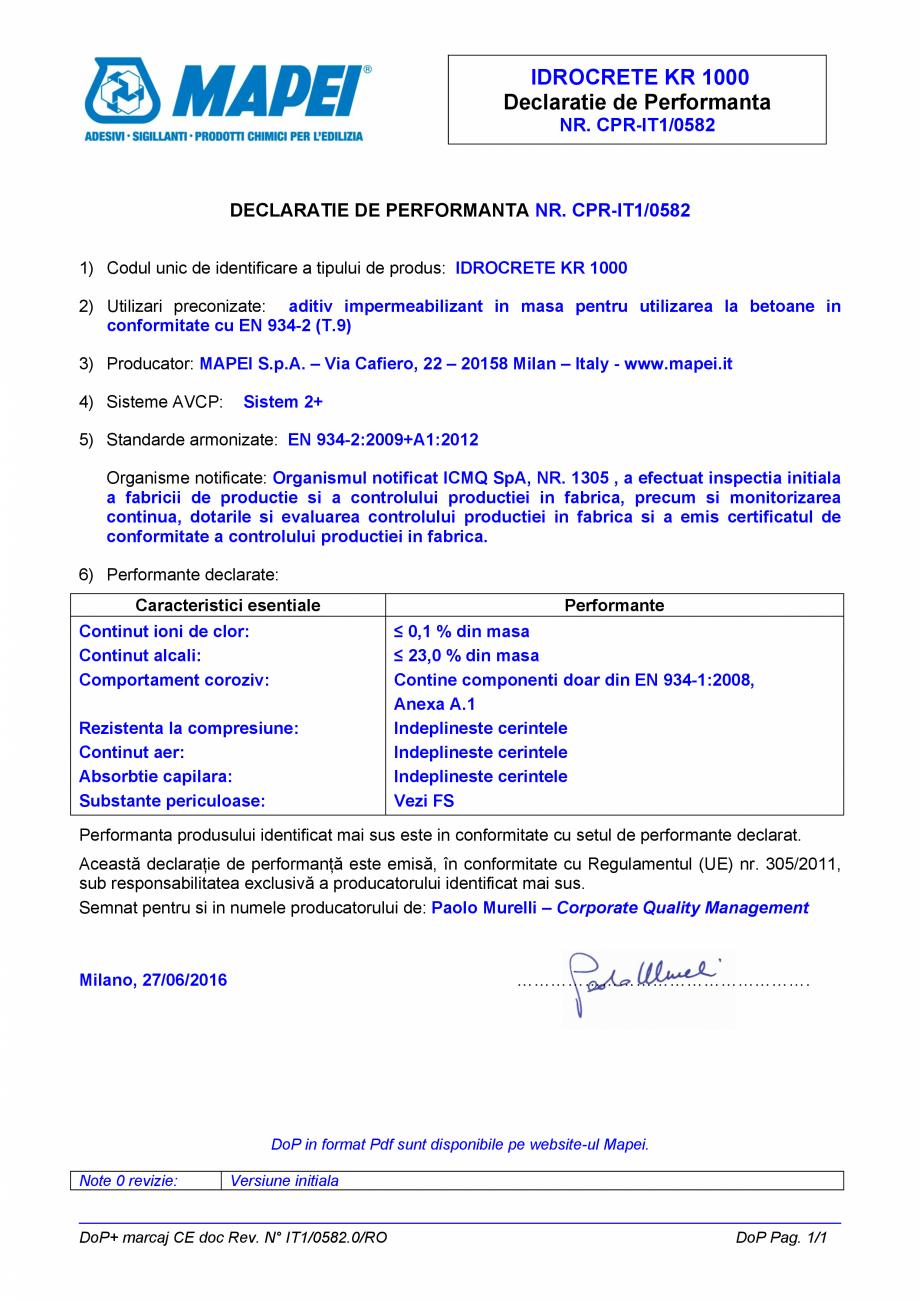 Pagina 1 - Declaratie de performanta - Aditiv impermeabilizant pentru utilizarea la betoane in...