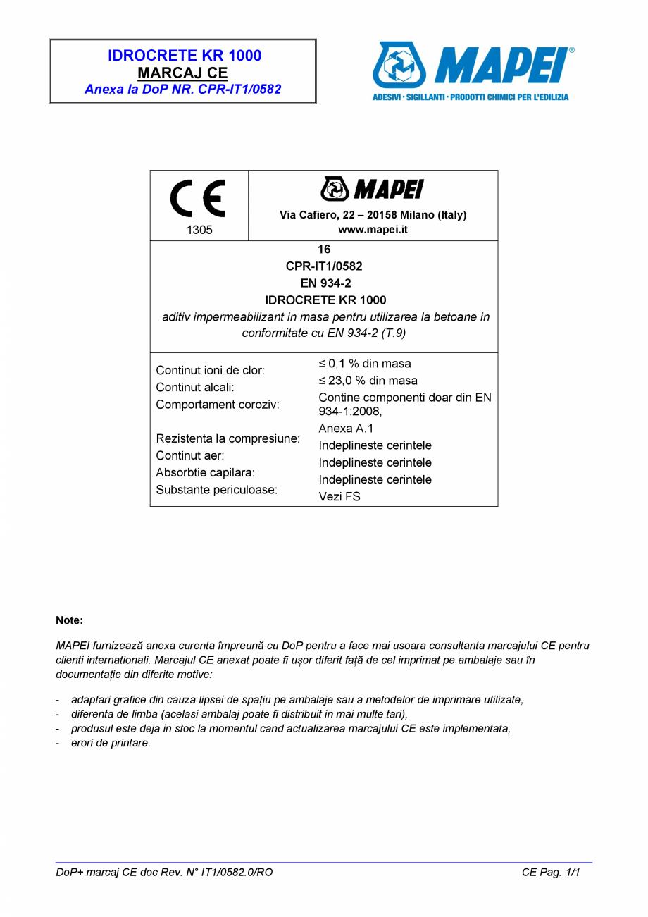 Pagina 2 - Declaratie de performanta - Aditiv impermeabilizant pentru utilizarea la betoane in...