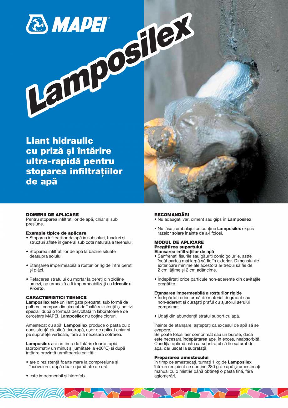 Pagina 1 - Liant hidraulic cu priză și întărire ultra-rapidă pentru stoparea...