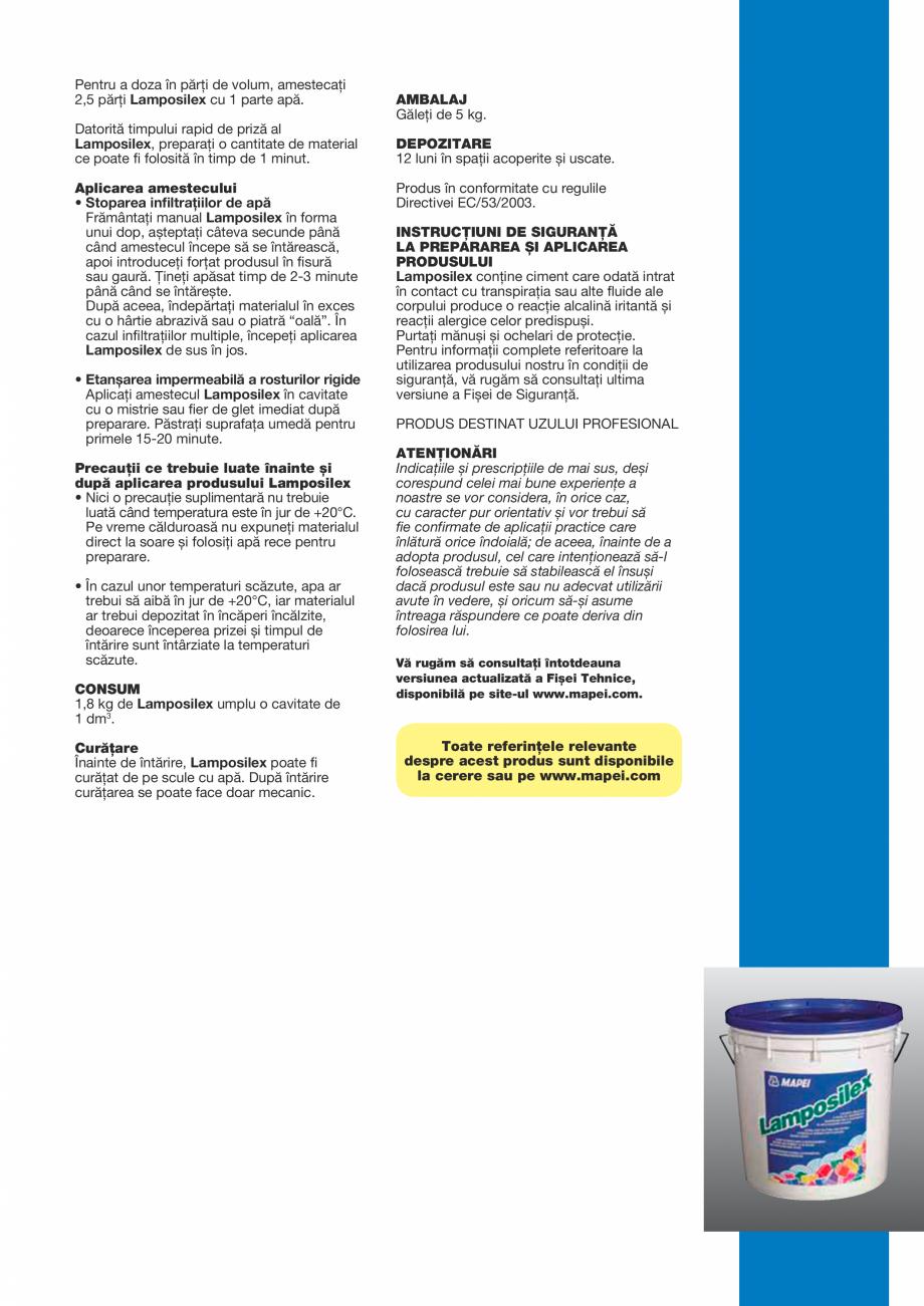 Pagina 3 - Liant hidraulic cu priză și întărire ultra-rapidă pentru stoparea...