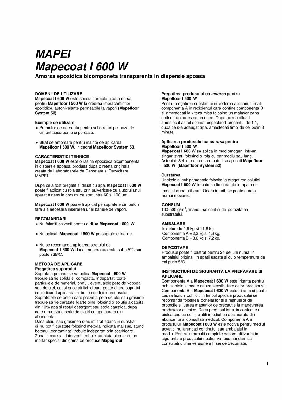 Pagina 1 - Amorsa epoxidica bicomponeta transparenta in dispersie apoasa MAPEI MAPECOAT I 600W Fisa ...