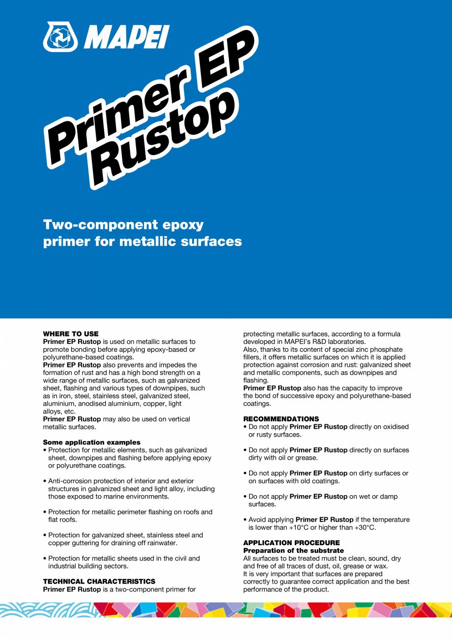 Pagina 1 - Primer epoxidic cu doua componente pentru suprafete metalice MAPEI PRIMER EP RUSTOP Fisa ...