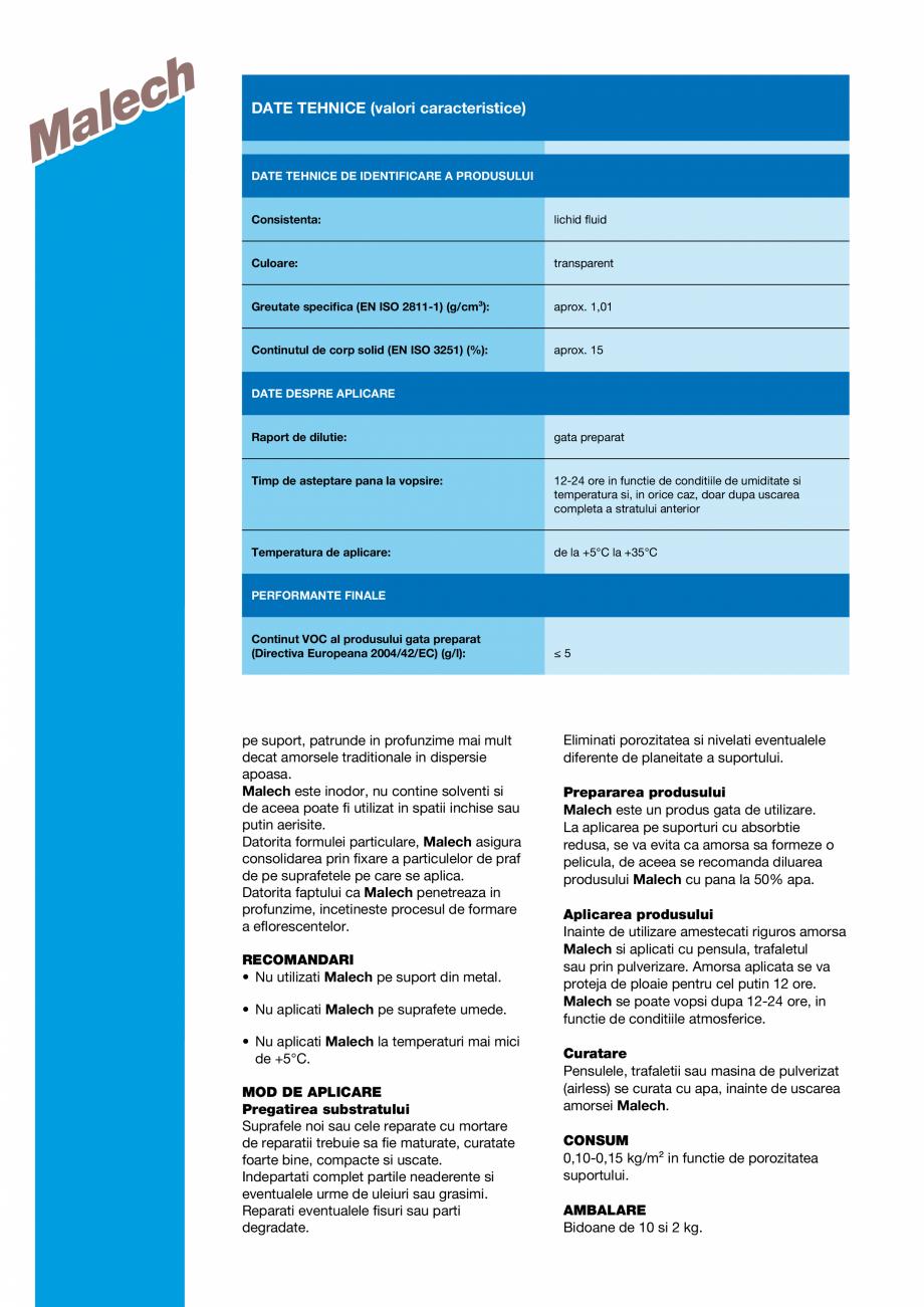 Pagina 2 - Amorsa pe baza de rasini acrilice in dispersie apoasa MAPEI MALECH Fisa tehnica Romana e....