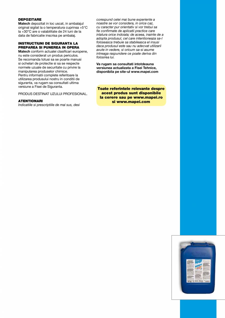 Pagina 3 - Amorsa pe baza de rasini acrilice in dispersie apoasa MAPEI MALECH Fisa tehnica Romana...