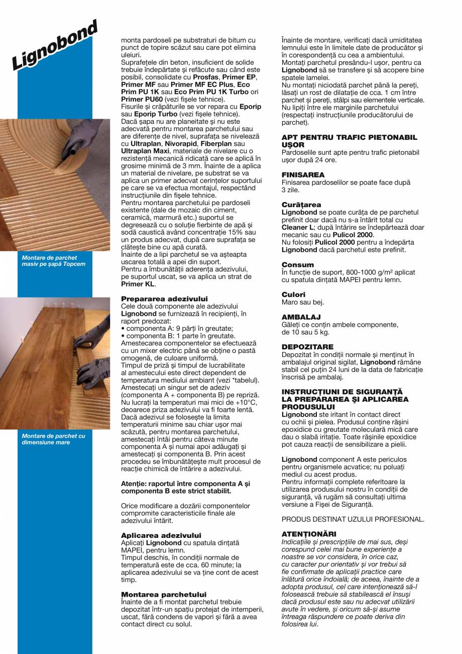 Pagina 2 - Adeziv epoxi-poliuretanic bicomponent fără solvenți pentru lipirea pardoselilor din...