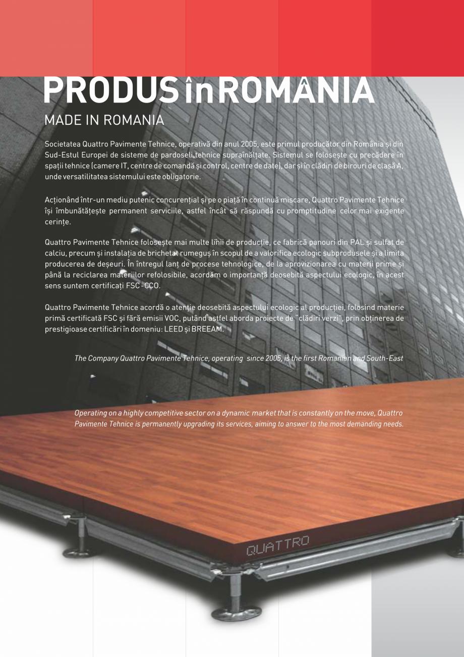 Pagina 2 - Pardoseli suprainaltate QUATTRO Panou din sulfat de calciu Catalog, brosura Romana