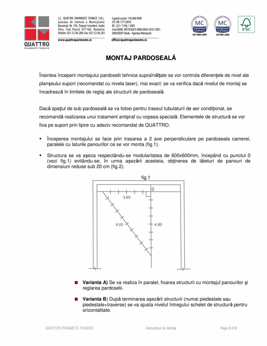 Pagina 2 - Instructiuni de montaj QUATTRO W40 RF60 Instructiuni montaj, utilizare Romana ă, fermă,...